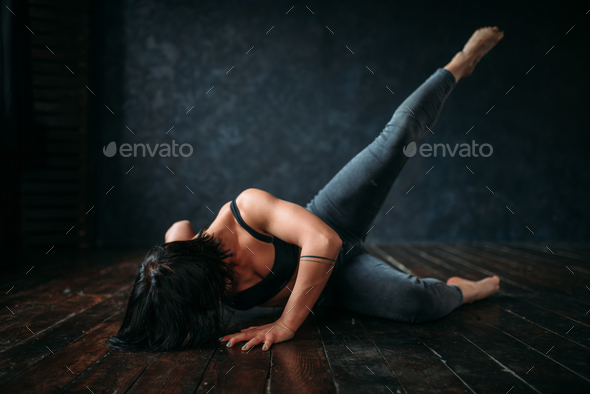 Active gymnastic exercise in dance class, contemp - Stock Photo - Images