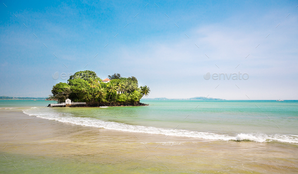 Little paradise island on Sri Lanka coast - Stock Photo - Images