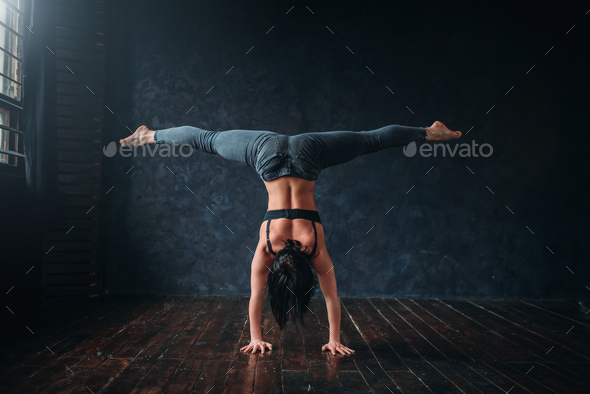 Contemp dancing exercise in dance class - Stock Photo - Images