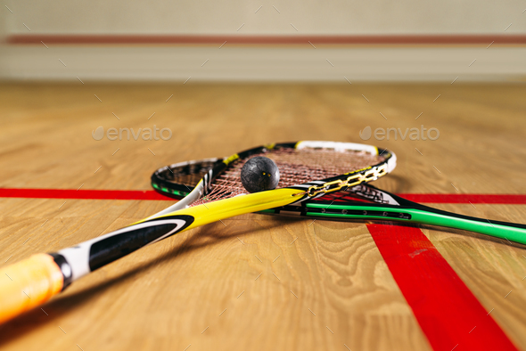 Squash game equipment closeup view - Stock Photo - Images