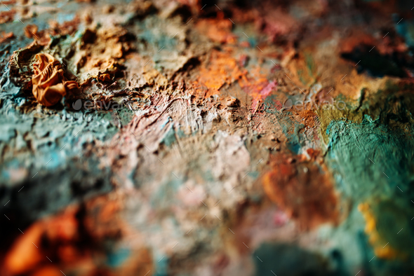 Acrylic paints mix closeup view - Stock Photo - Images