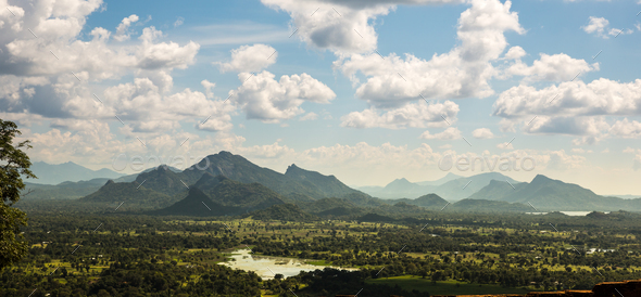 Green valley and blue sky, Ceylon scenery - Stock Photo - Images