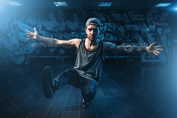 Hip hop performance, cool dance in studio - Stock Photo - Images