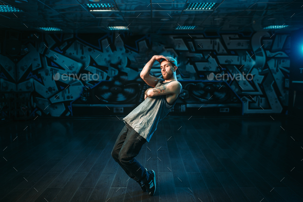 Male rapper in dance studio, rap performer - Stock Photo - Images