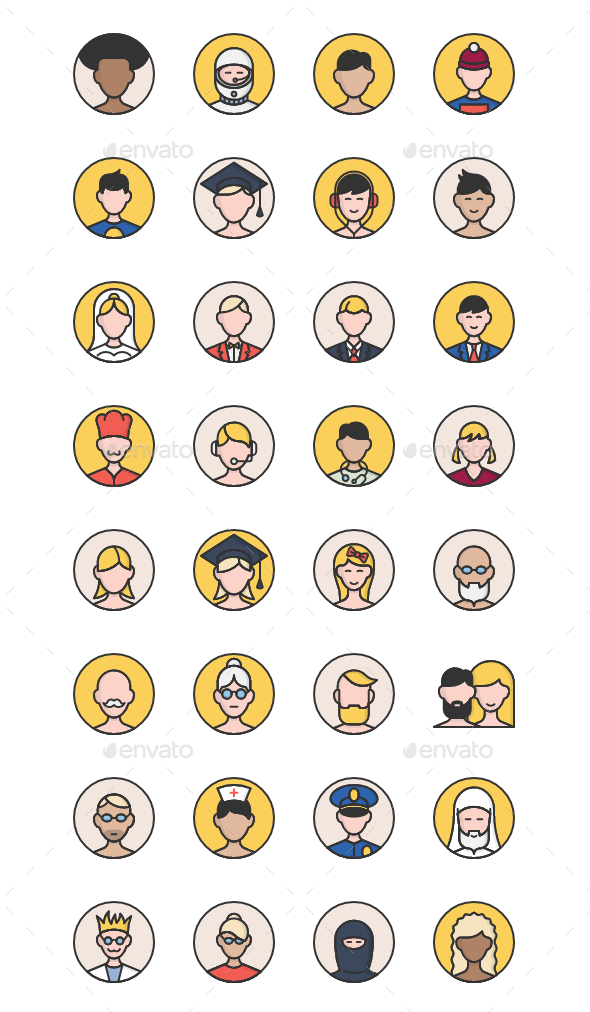32 User Avatars Icons - People Characters
