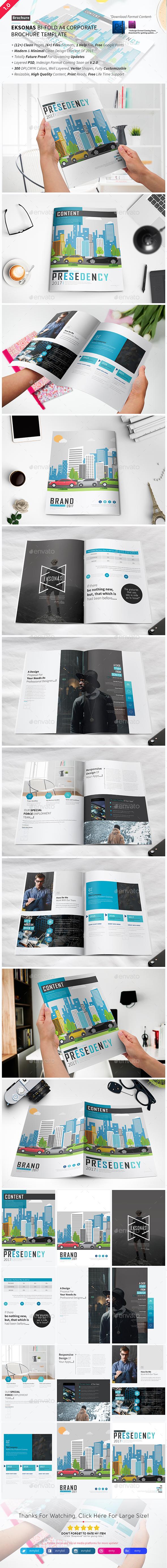 Eksonas Bi-fold Brochure Template - Brochures Print Templates