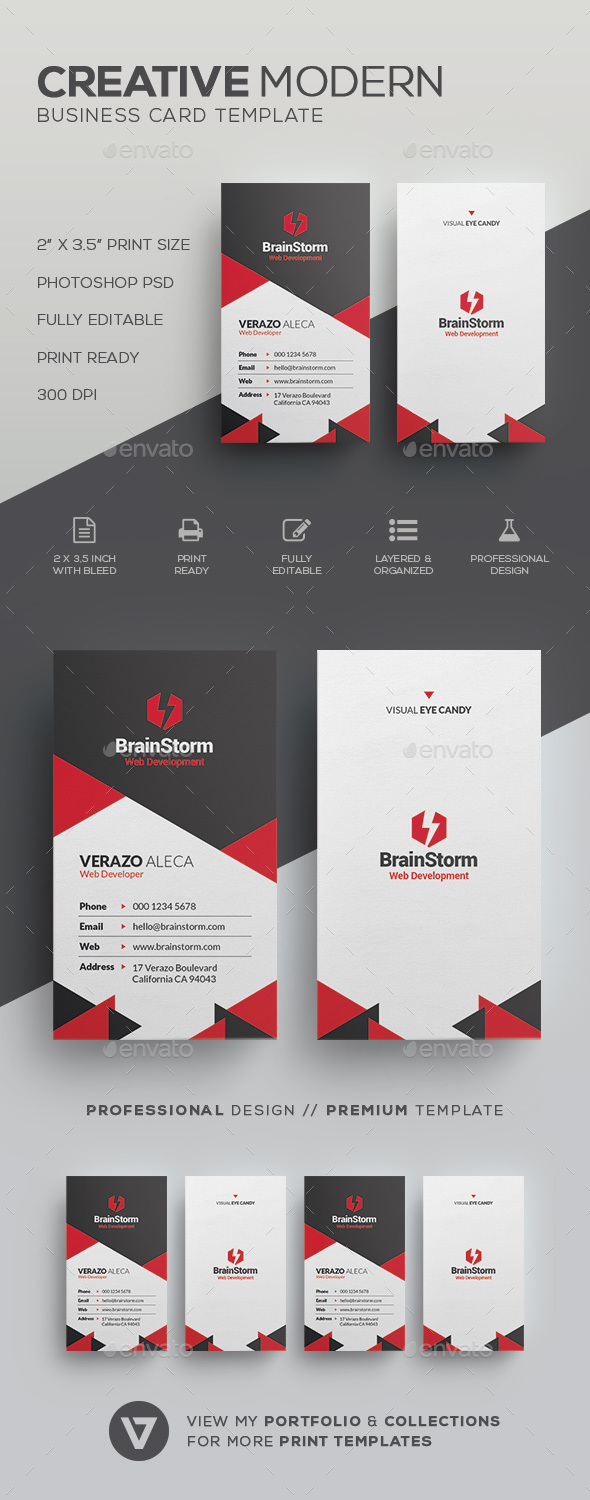 Modern Vertical Business Card - Creative Business Cards