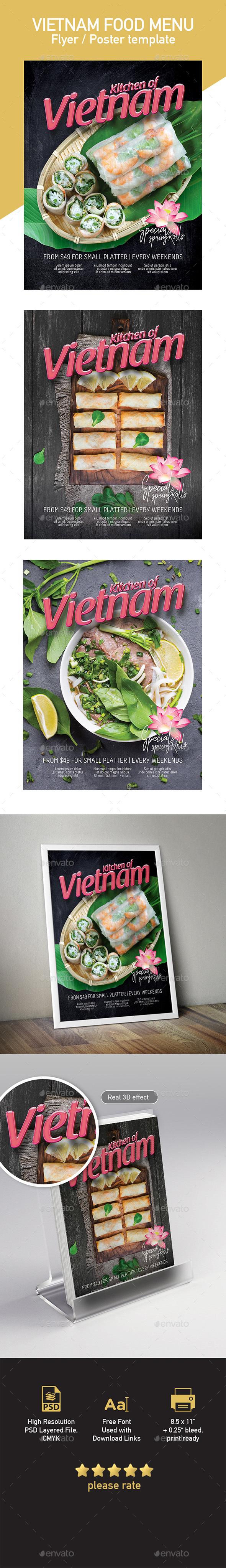 Template of Vietnamese Food Restaurant Menu - Restaurant Flyers