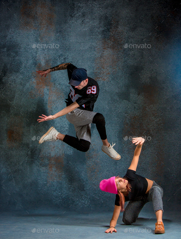 The Two Young Girl And Boy Dancing Hip Hop In The Studio Stock Photo By Master1305