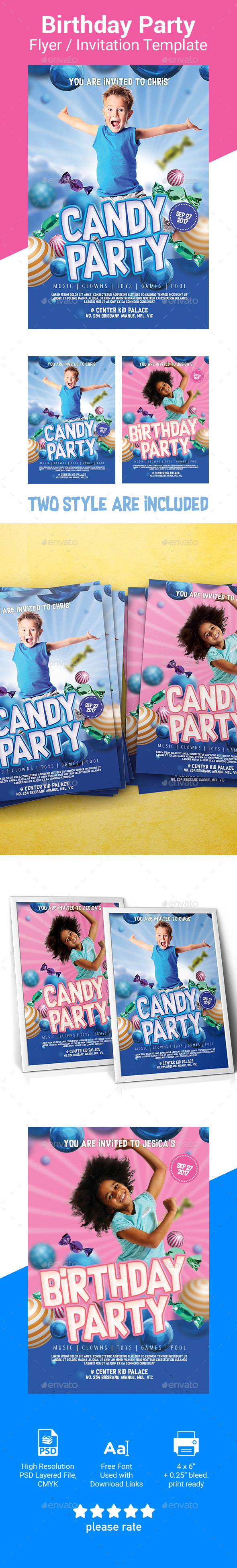 Kid Party Invitation / Flyer Template - Cards & Invites Print Templates