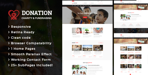 Donation – Responsive HTML Template for Charity & Fund Raising
