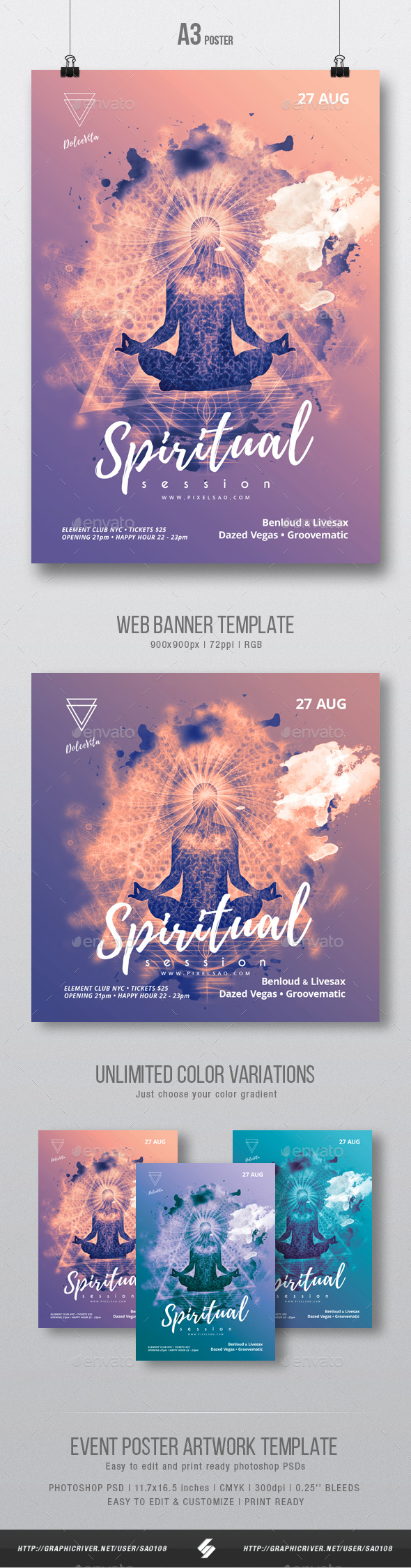 Spiritual Session - Party Flyer / Poster Artwork Template A3 - Clubs & Parties Events
