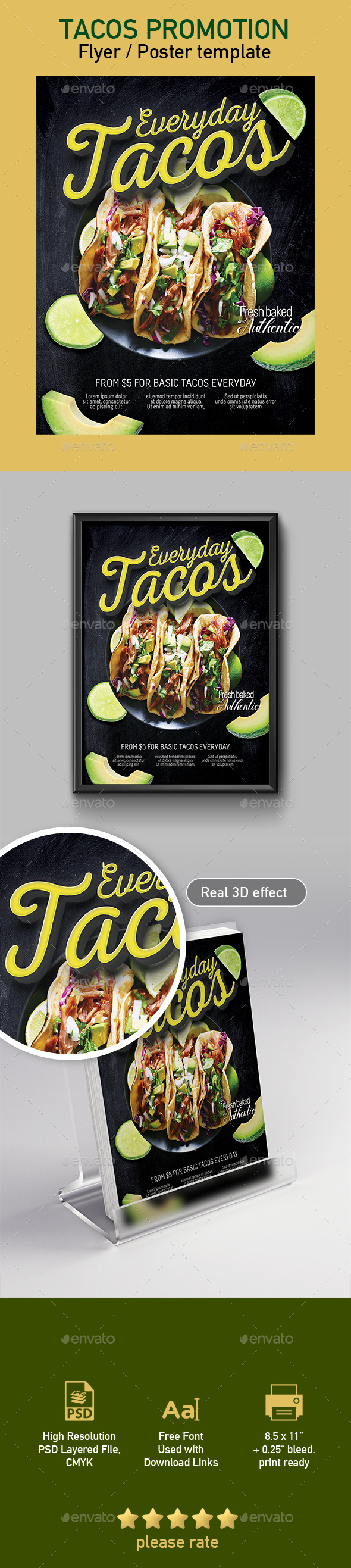 Tacos Flyer / Poster Template - Restaurant Flyers