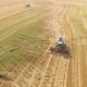 Harvester Working in Field and Mows Wheat