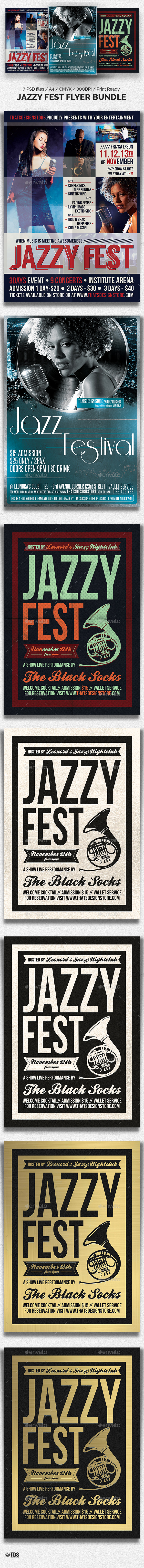 Jazzy Fest Flyer Bundle - Concerts Events