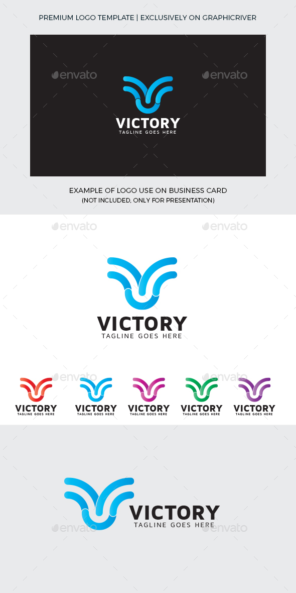 Victory V Letter Logo Template - Letters Logo Templates