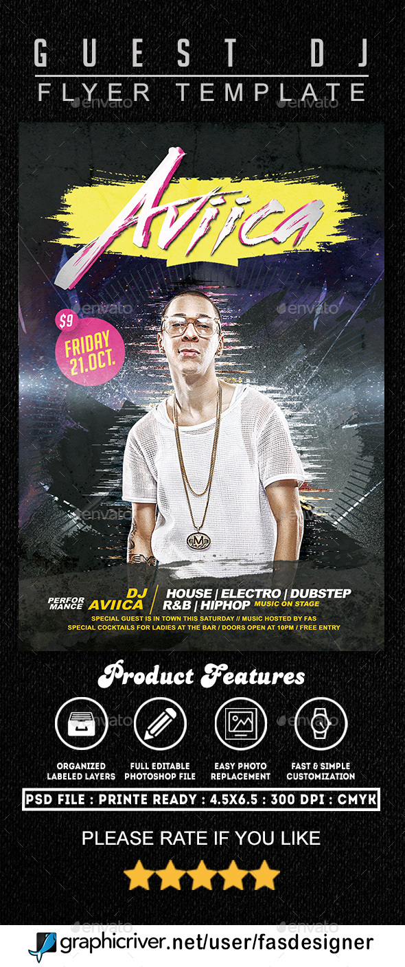 Guest Artist Flyer Template - Clubs & Parties Events