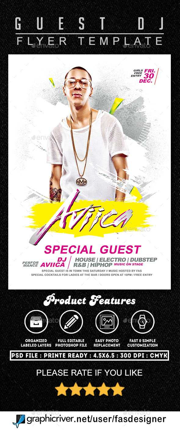 Guest Deejay Flyer Template - Clubs & Parties Events