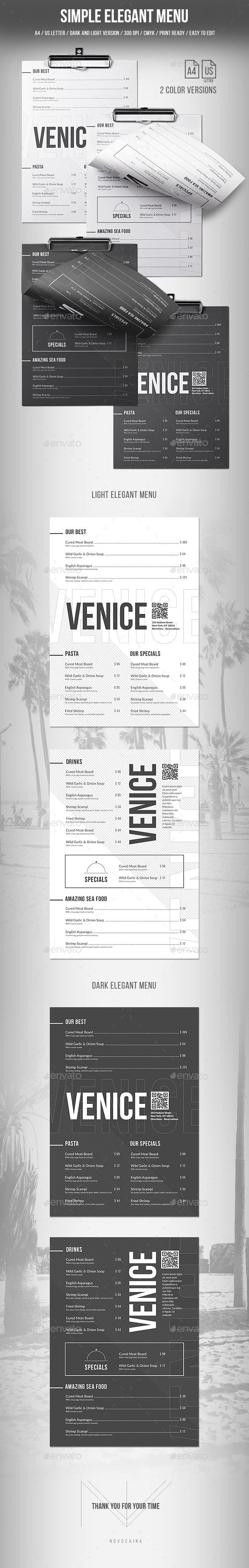 Simple Elegant Menu - A4 and US Letter - 2 Color Versions - Food Menus Print Templates