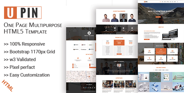 UPIN – One Page Multipurpose html5 Template