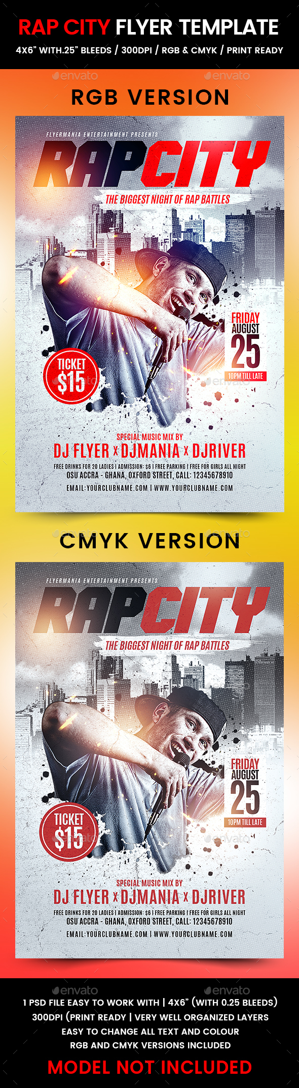 Rap City Flyer Template - Clubs & Parties Events