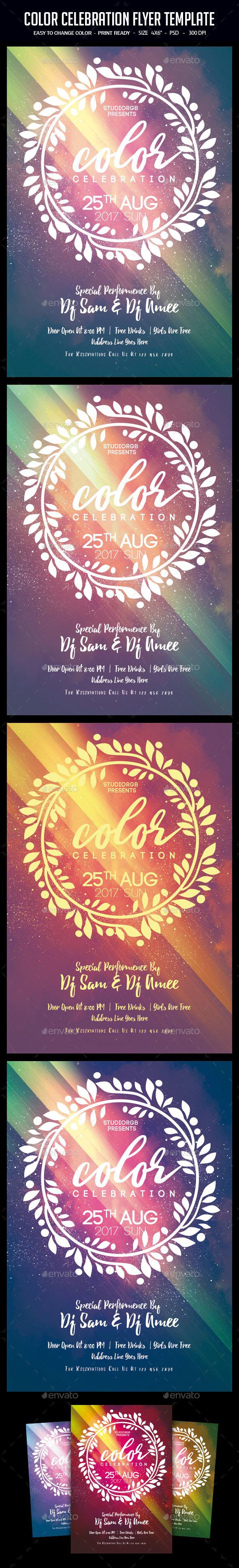 Color Celebration Flyer Template - Clubs & Parties Events
