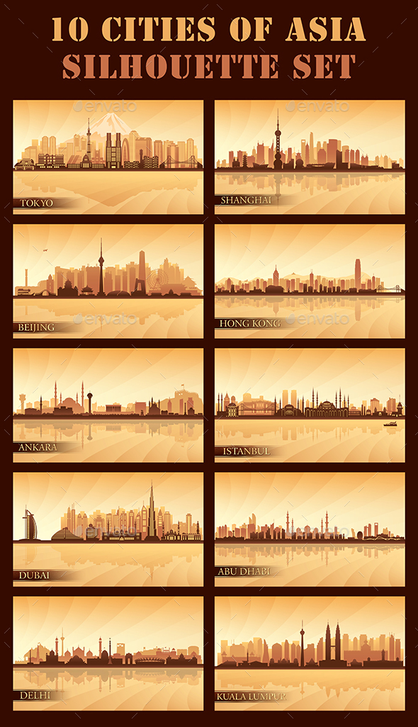 Set of 10 Asian Cities - Backgrounds Decorative