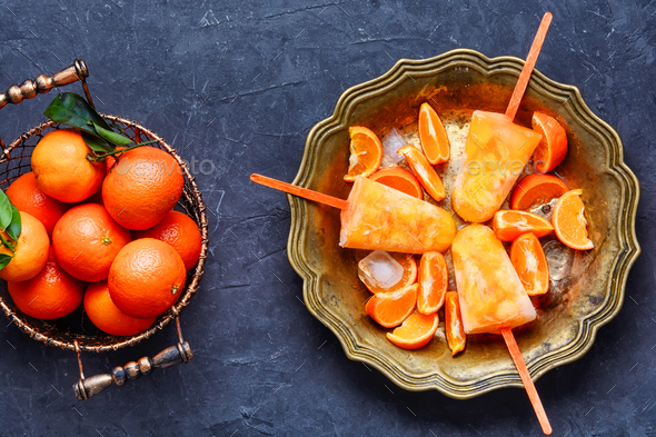 Baked home cheesecake with oranges - Stock Photo - Images
