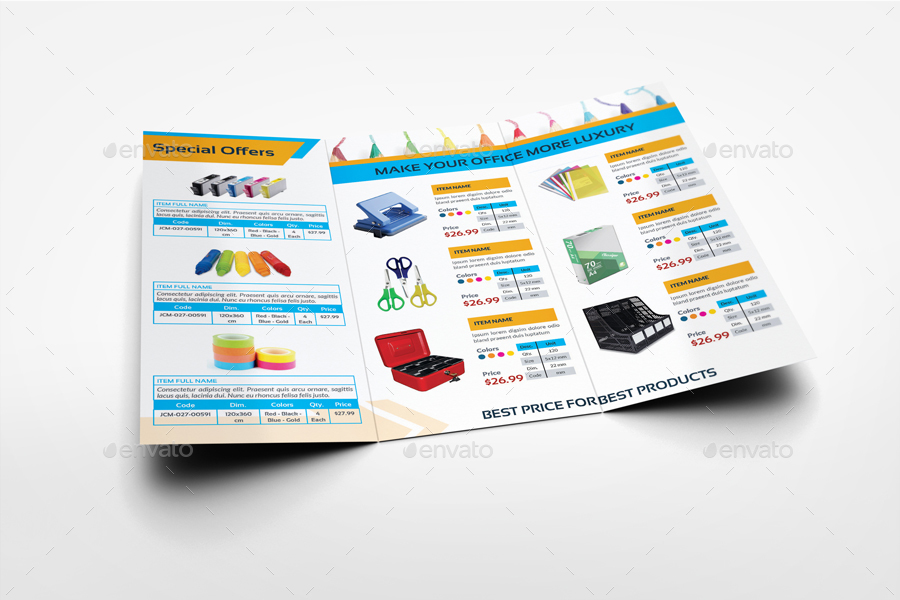 Stationery Products Catalog Tri Fold Brochure Template By Owpictures