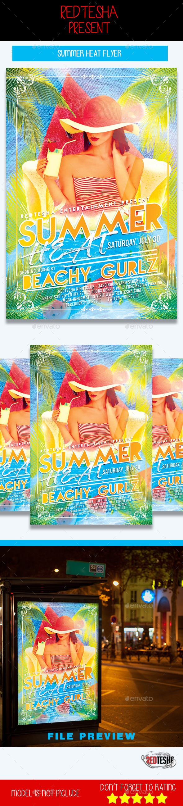 Summer Heat Flyer - Clubs & Parties Events