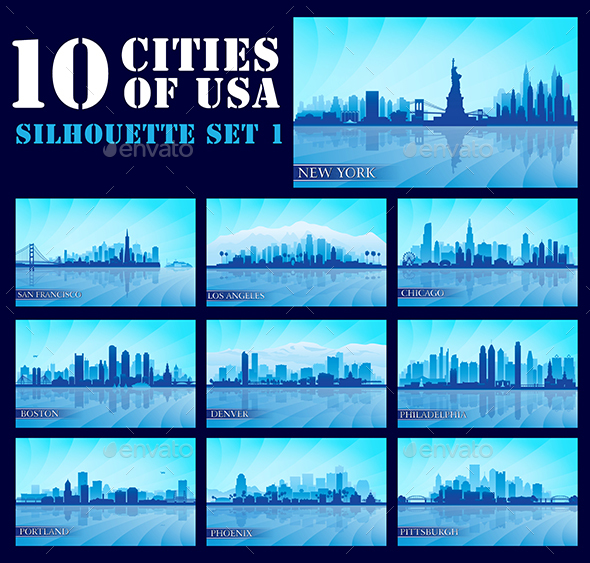Set of 10 Silhouettes USA Cities - Backgrounds Decorative