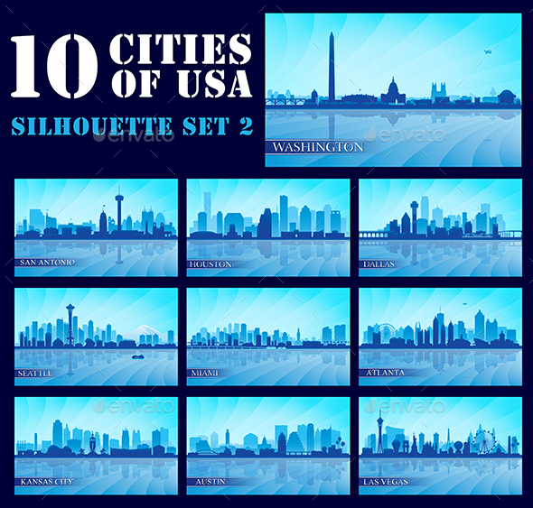Set of 10 Silhouettes USA Cities #2 - Backgrounds Decorative