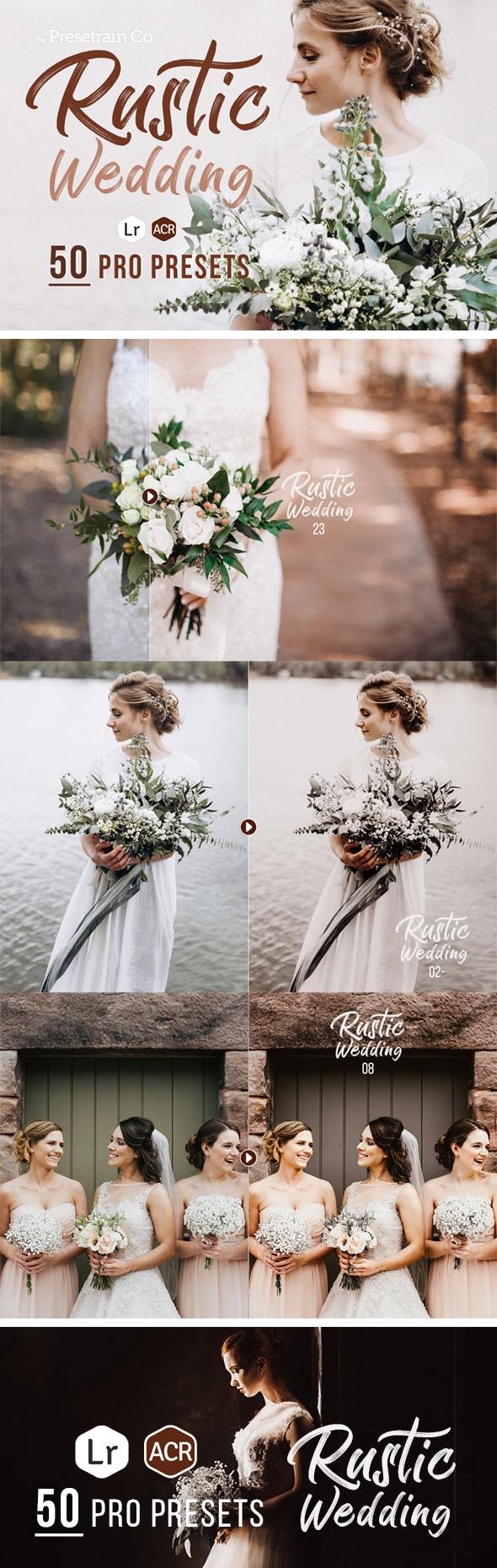 50 Rustic Wedding Presets for Lightroom & ACR - Wedding Lightroom Presets