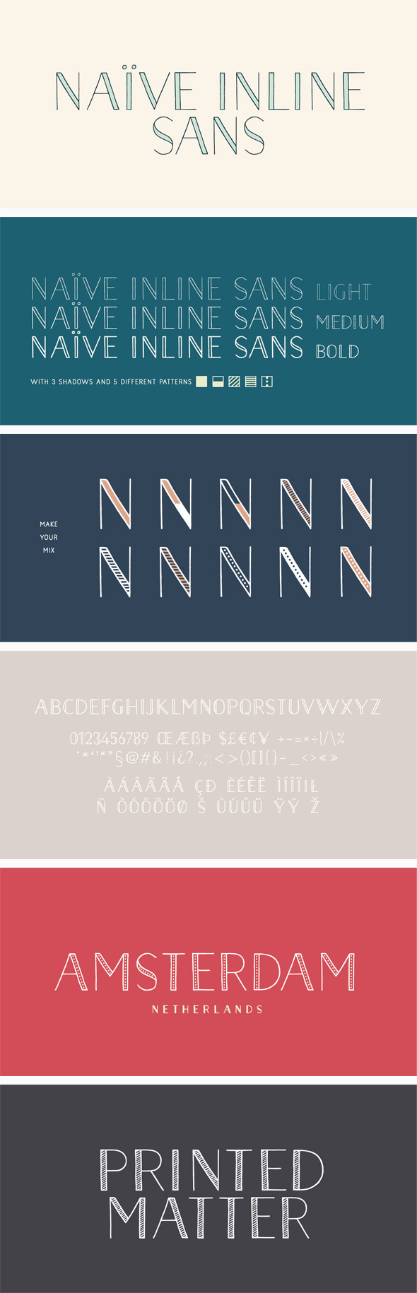 Naive Inline Sans Font Pack - Handwriting Fonts