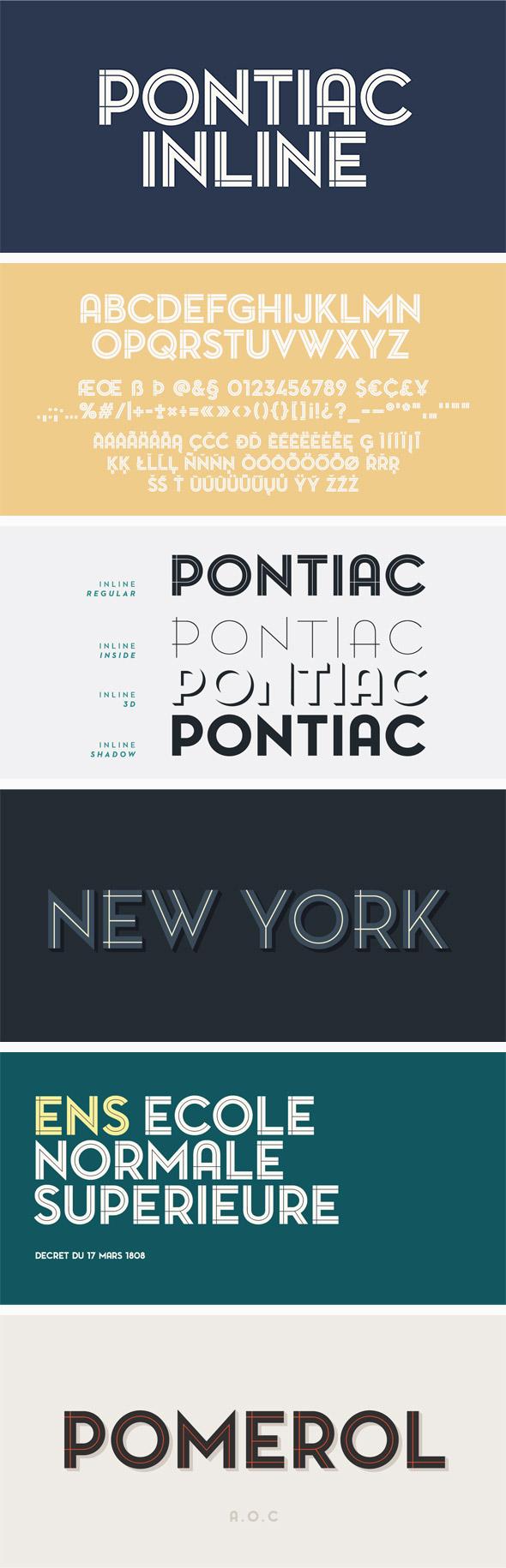 Pontiac Inline Font Pack - Sans-Serif Fonts
