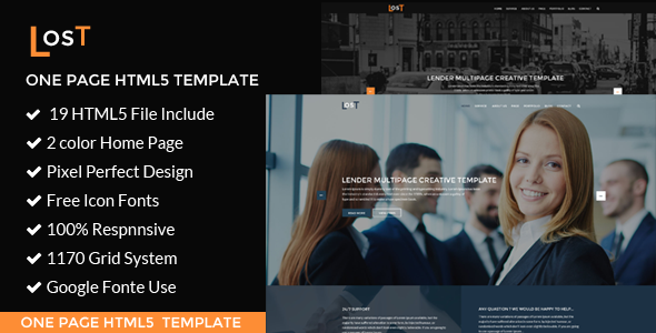 lost | one page HTML5 Template