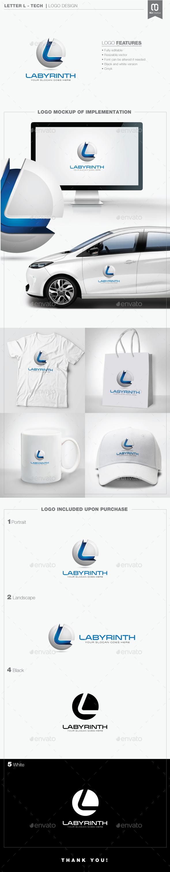 Letter L - Tech Logo - 3d Abstract