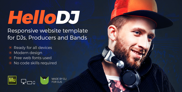HelloDJ – DJ / Producer / Music Band Responsive Muse Template