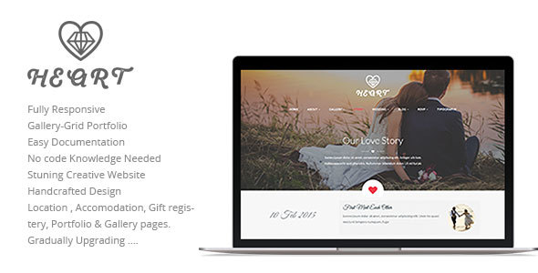 Heart Wedding Story, Event, RSVP Planner & Gallery Clean and Beautiful Responsive HTML5 Template - Wedding Site Templates