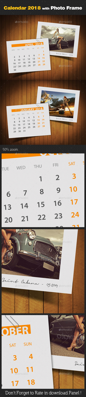 Customizable Calendar 2018 Photo Frame V03 - Miscellaneous Photo Templates