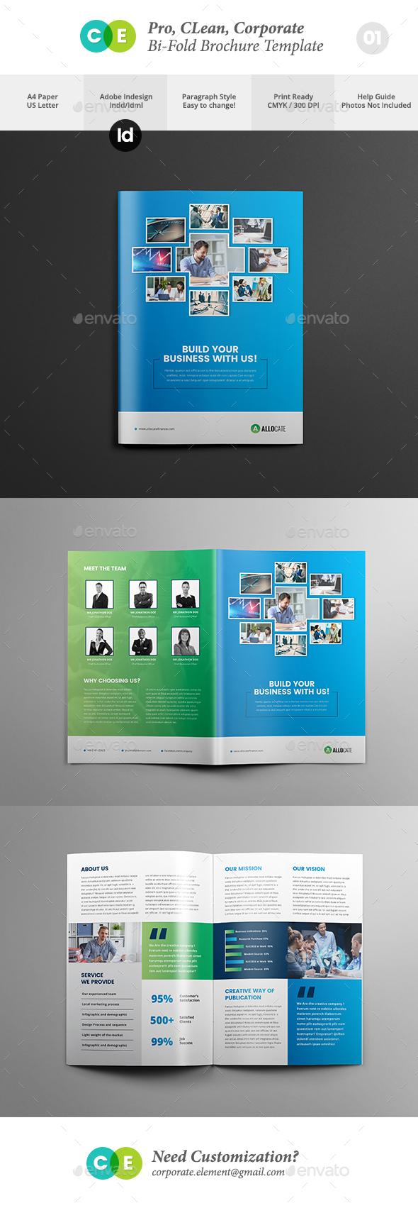 Clean Pro Bi-Fold Brochure Template V01 - Brochures Print Templates