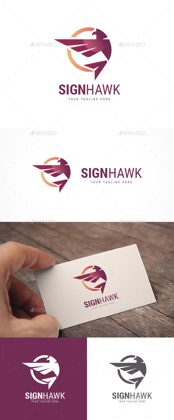 Abstract Sign Hawk Logo - Animals Logo Templates
