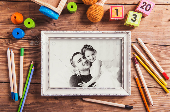 Fathers day concept. Black-and-white photo. Various toys. - Stock Photo - Images