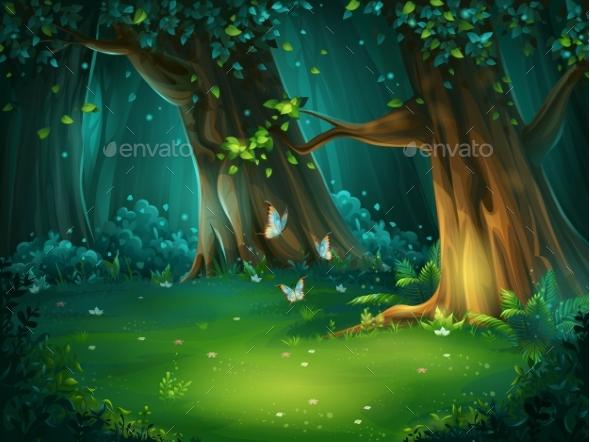 Vector Illustration of a Forest Glade - Landscapes Nature