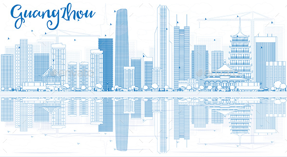 Outline Guangzhou Skyline with Blue Buildings and Reflections - Buildings Objects