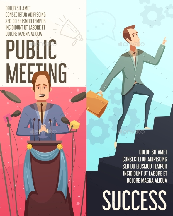 Business Meeting Banners Set - People Characters