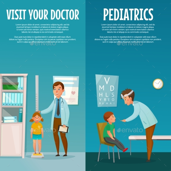 Pediatrician and Kid Vertical Banners - Health/Medicine Conceptual