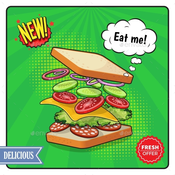 Sandwich Advertising Poster in Comic Style - Food Objects