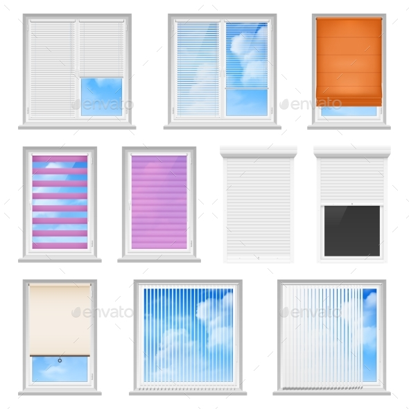 Window Blinds Colored Flat Set - Objects Vectors
