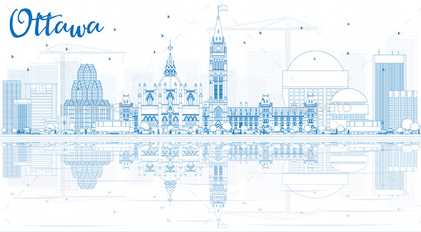 Outline Ottawa Skyline with Blue Buildings and Reflections. - Buildings Objects